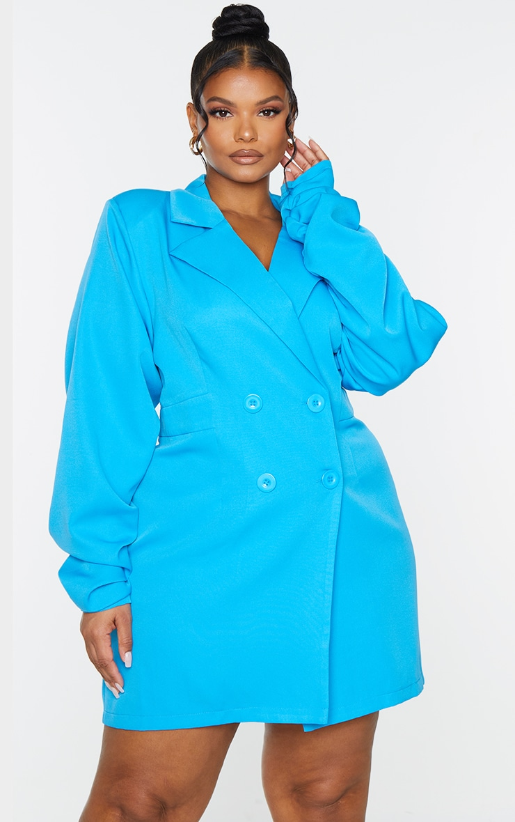 Plus Bright Blue Ruched Sleeve Oversized Blazer Dress 3