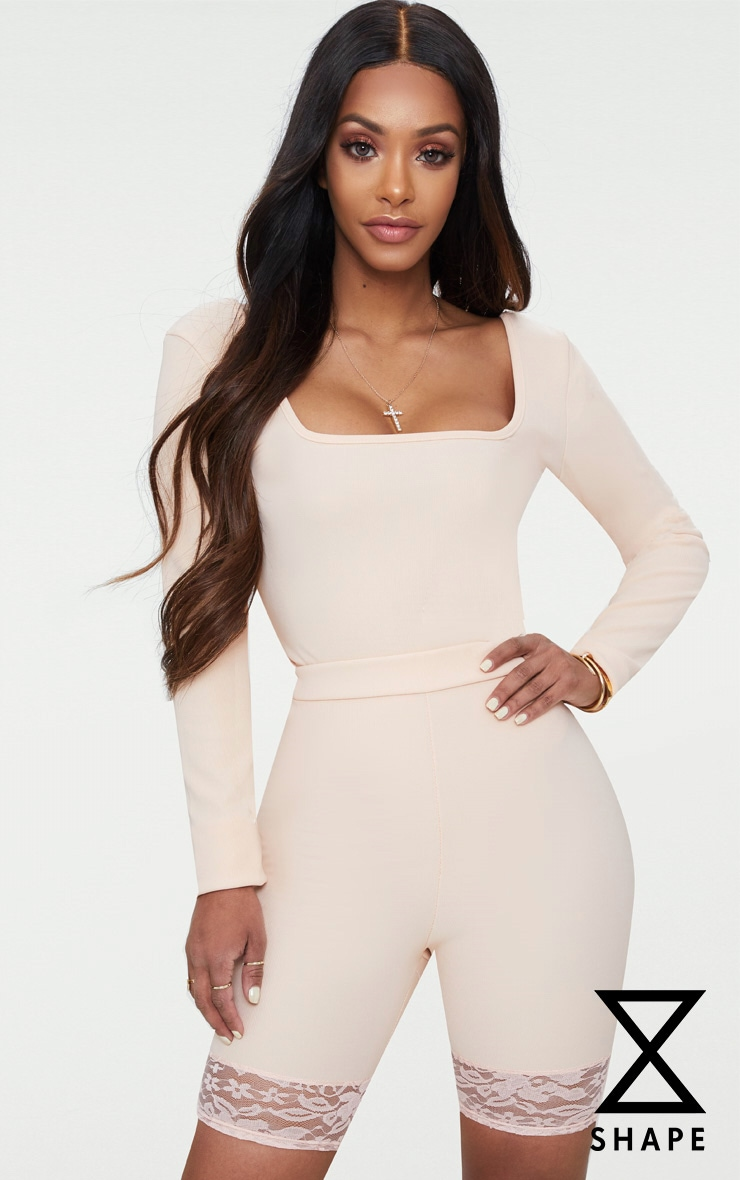 Shape Nude Ribbed Square Neck Bodysuit