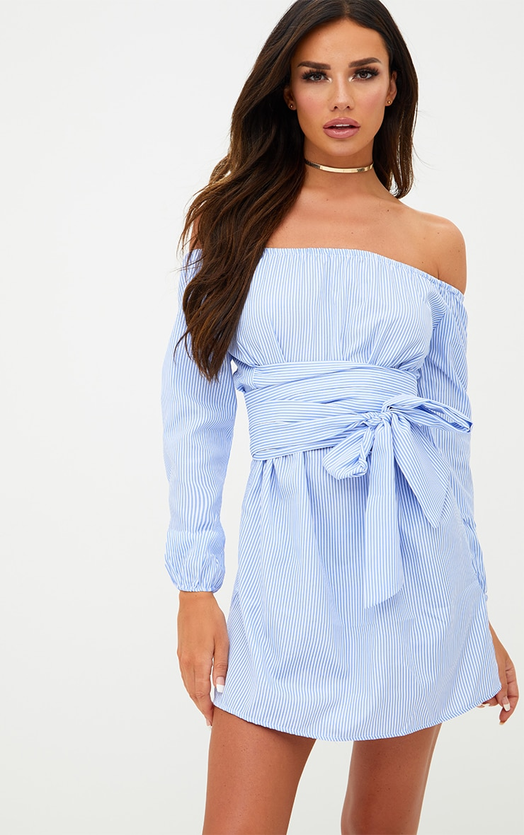 Blue Pinstripe Bardot Tie Waist Shift Dress 1