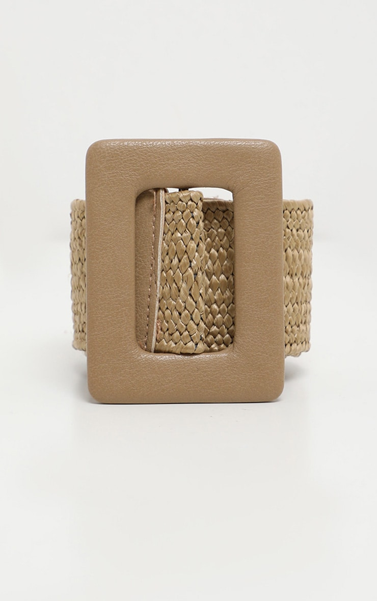 Tan Covered Buckle Woven Belt 3