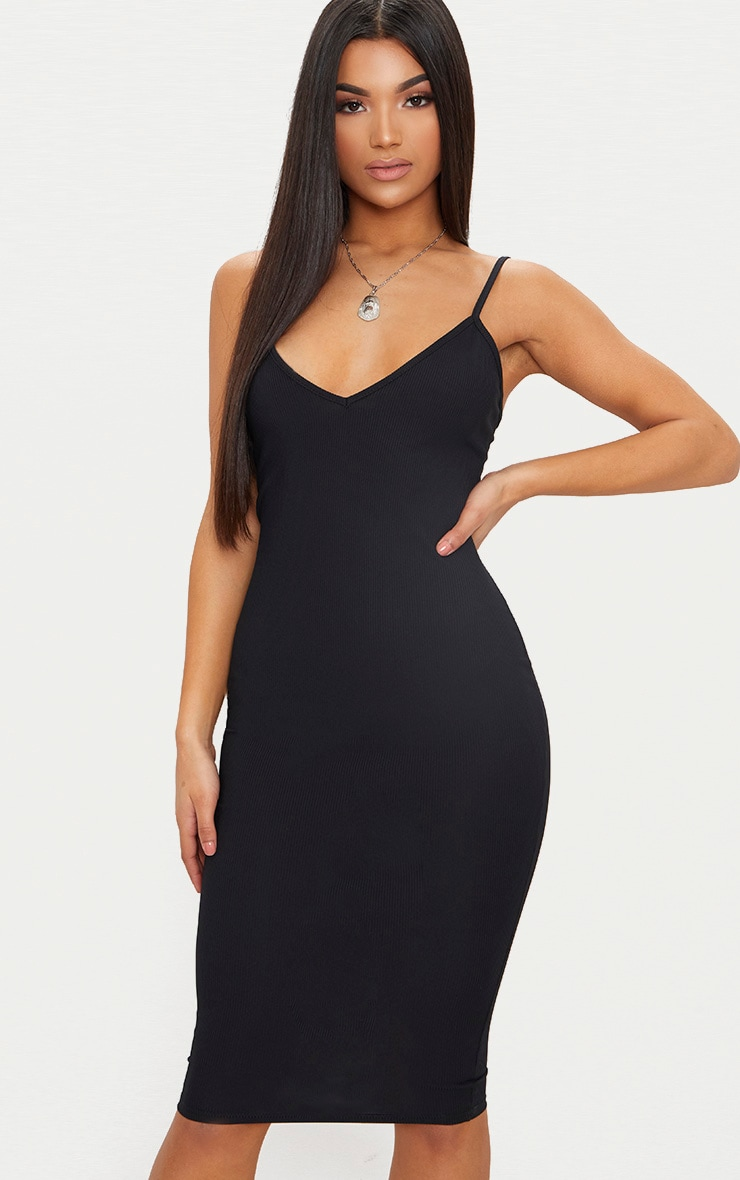 Black Ribbed Plunge Bodycon Dress 1