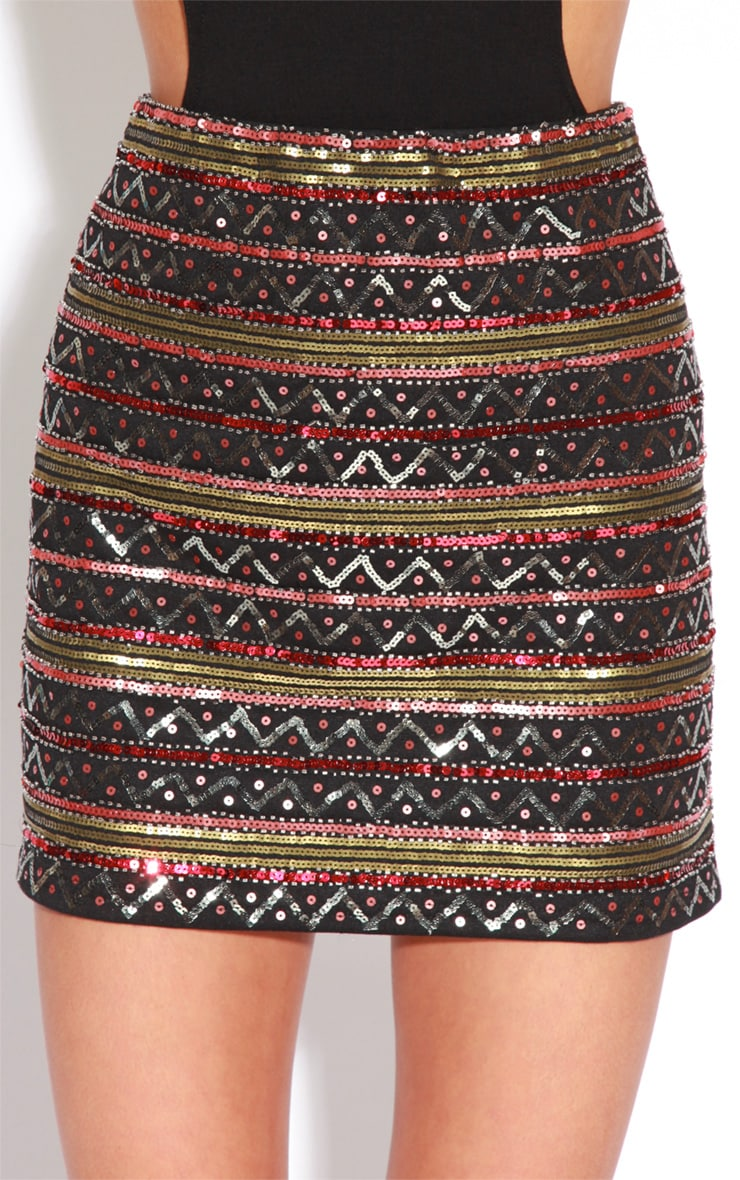 Simala Black Sequin Mini Skirt 4