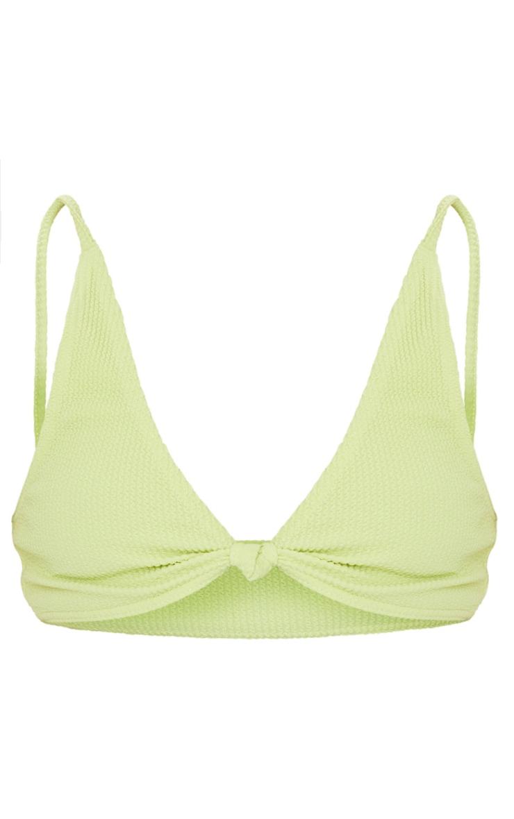 Plus Sage Green Crinkle Knot Front Plunge Bikini Top 5