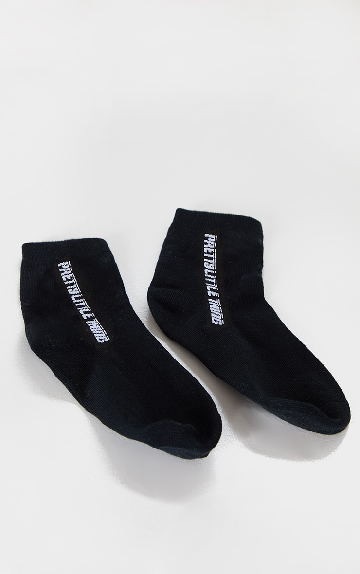 PRETTYLITTLETHING Black Logo Socks 2