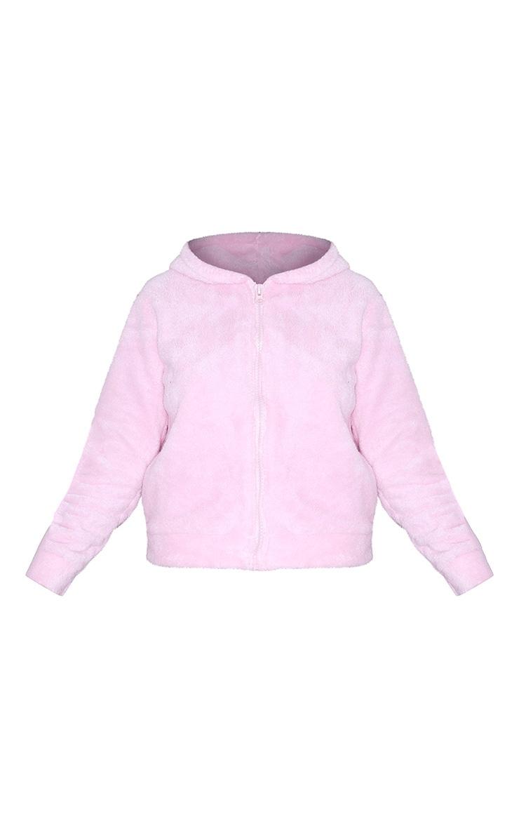 Baby Pink Borg Zip Up Hoodie 5
