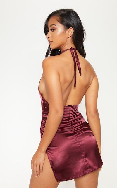 Petite Burgundy Halterneck Double Split Satin Mini Dress