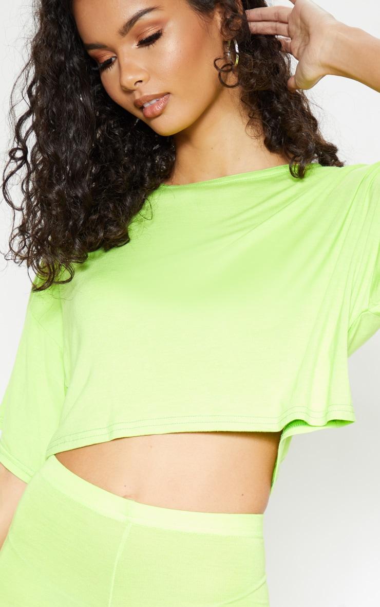 T-shirt court en jersey vert citron 5