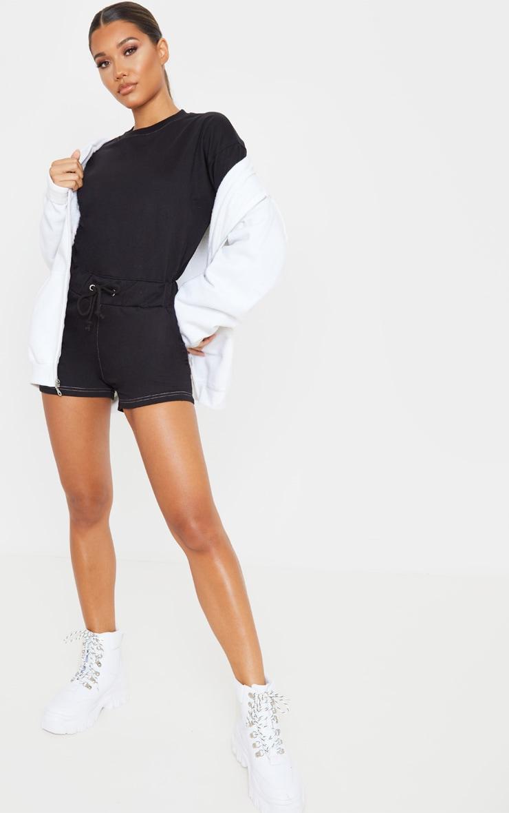 Combishort en sweat noir à manches longues et coutures contrastantes 1