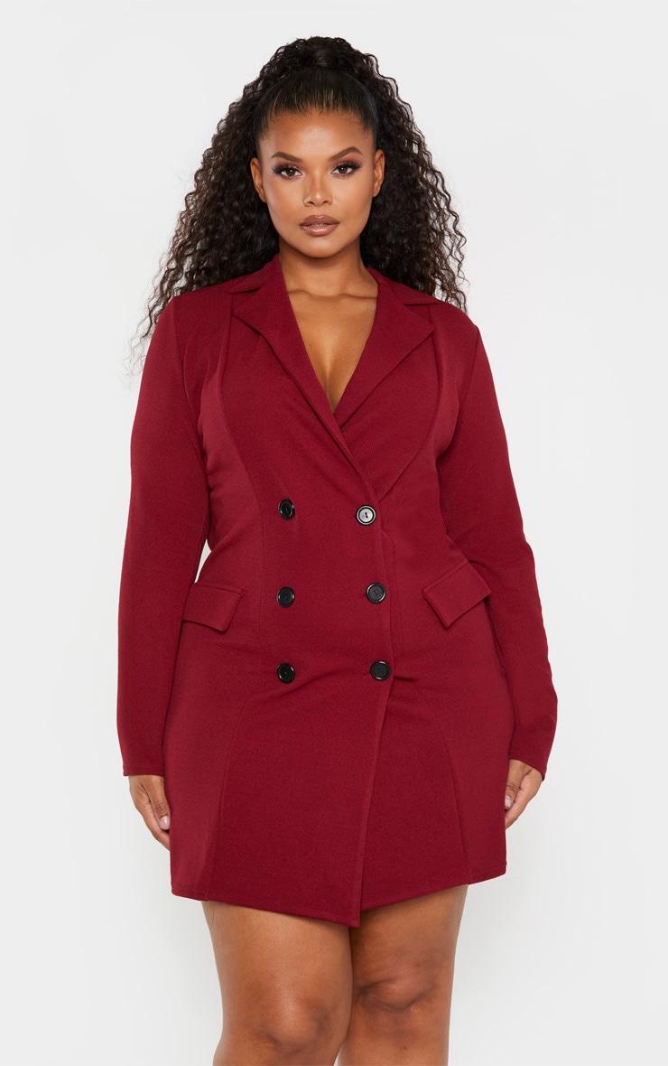 Plus Burgundy Button Detail Blazer Dress 1