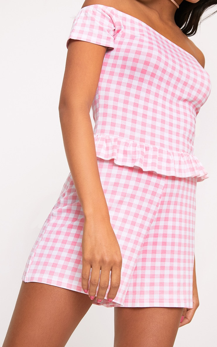 Pink Gingham Frill Middle Playsuit  5