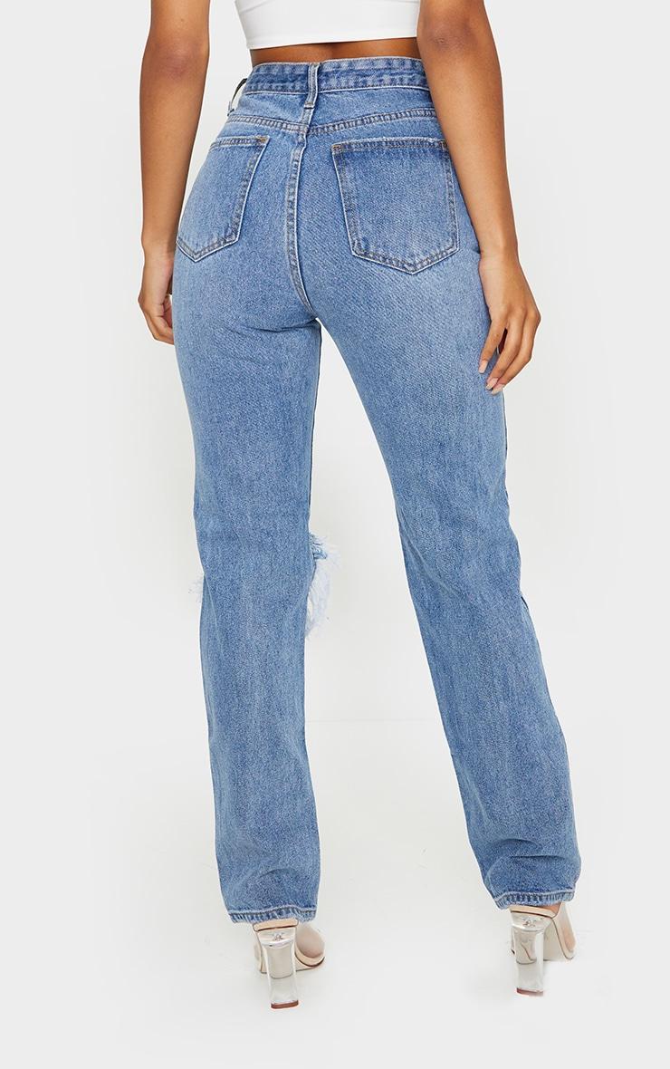 Light Blue Wash Open Knee Long Leg Straight Leg Jeans 3
