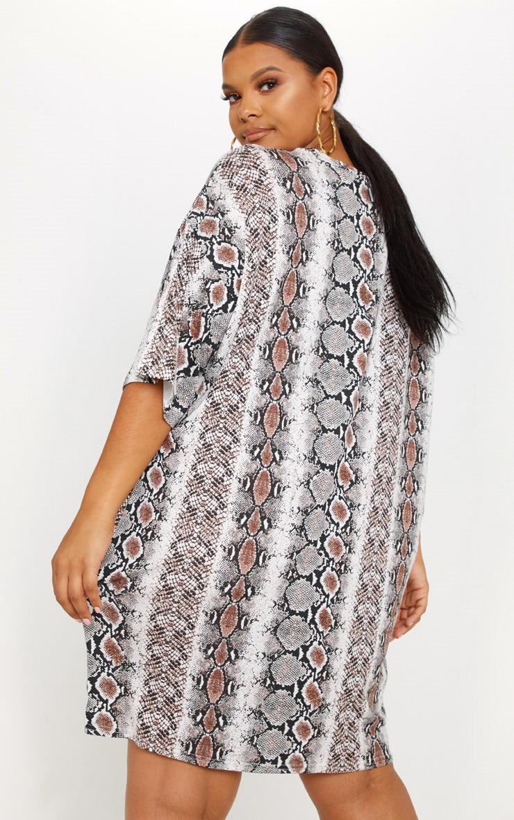 Plus Taupe Snake Print T-Shirt Dress 2