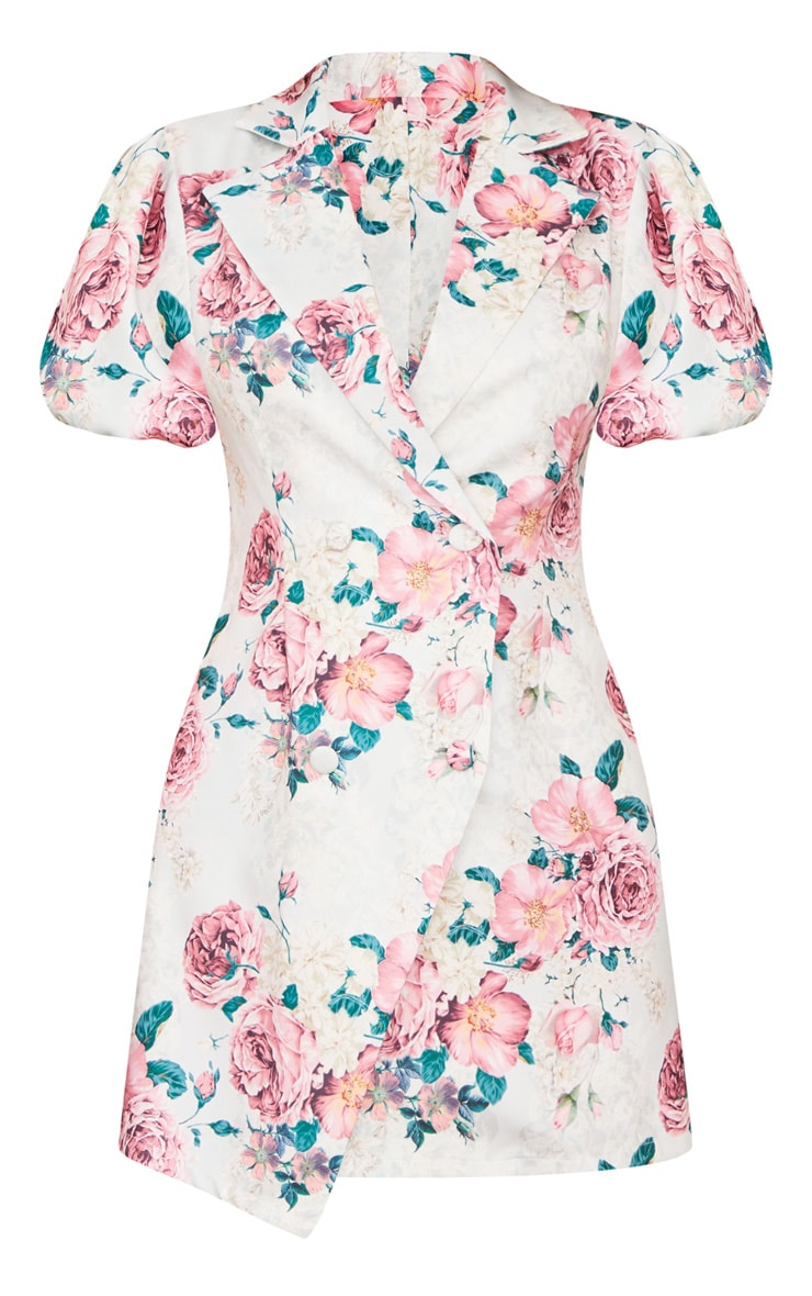 Pink Floral Print Puff Short Sleeve Blazer Dress 5