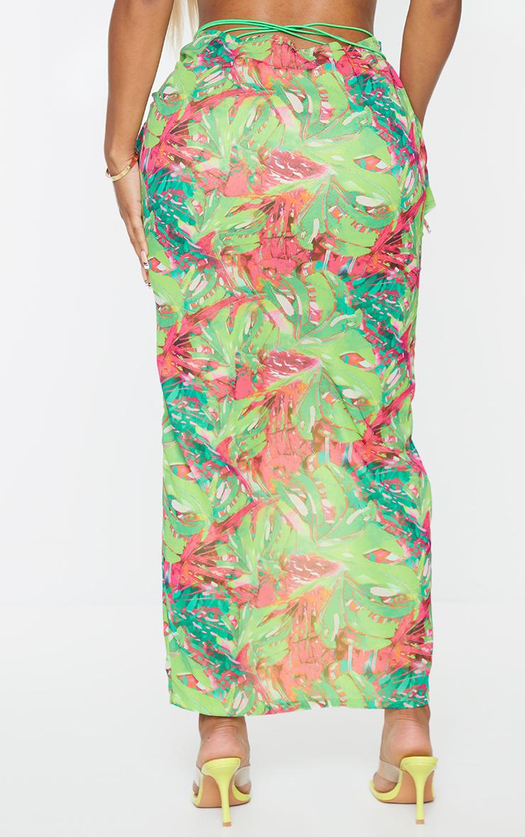 Shape Lime Tropical Print Chiffon Wrap Detail Midi Skirt 3