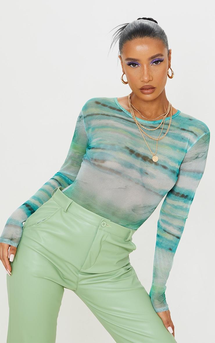 Blue Textured Stripe Printed Mesh Bodysuit 1