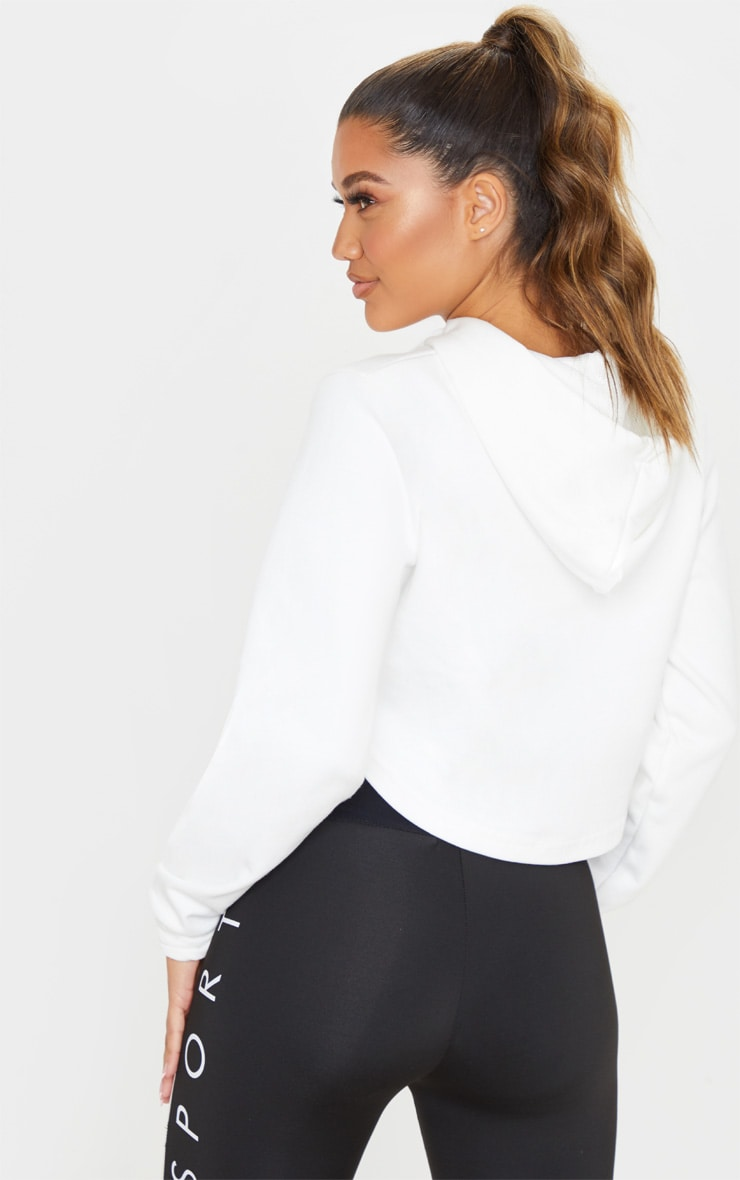 PRETTYLITTLETHING White Embossed Cropped Sports Hoodie 2
