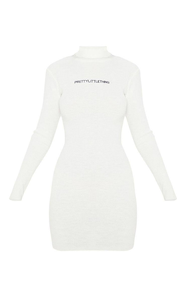 PRETTYLITTLETHING - Robe moulante en maille côtelée crème 3