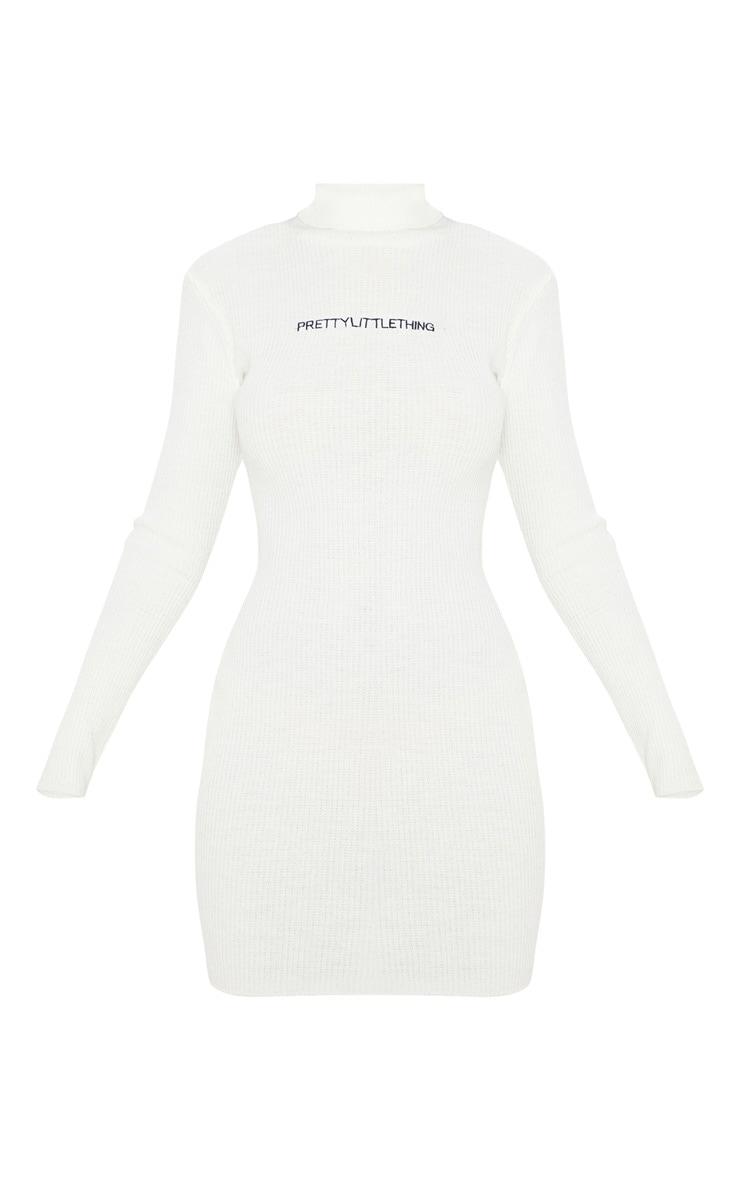 PRETTYLITTLETHING Cream Rib Knitted Bodycon Dress 3