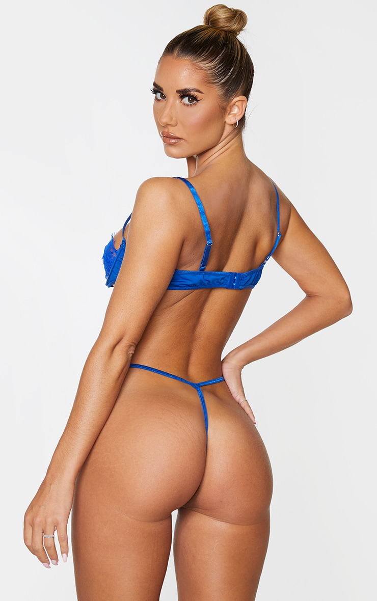 Cobalt Lace Panel Underwired Lingerie Set 2