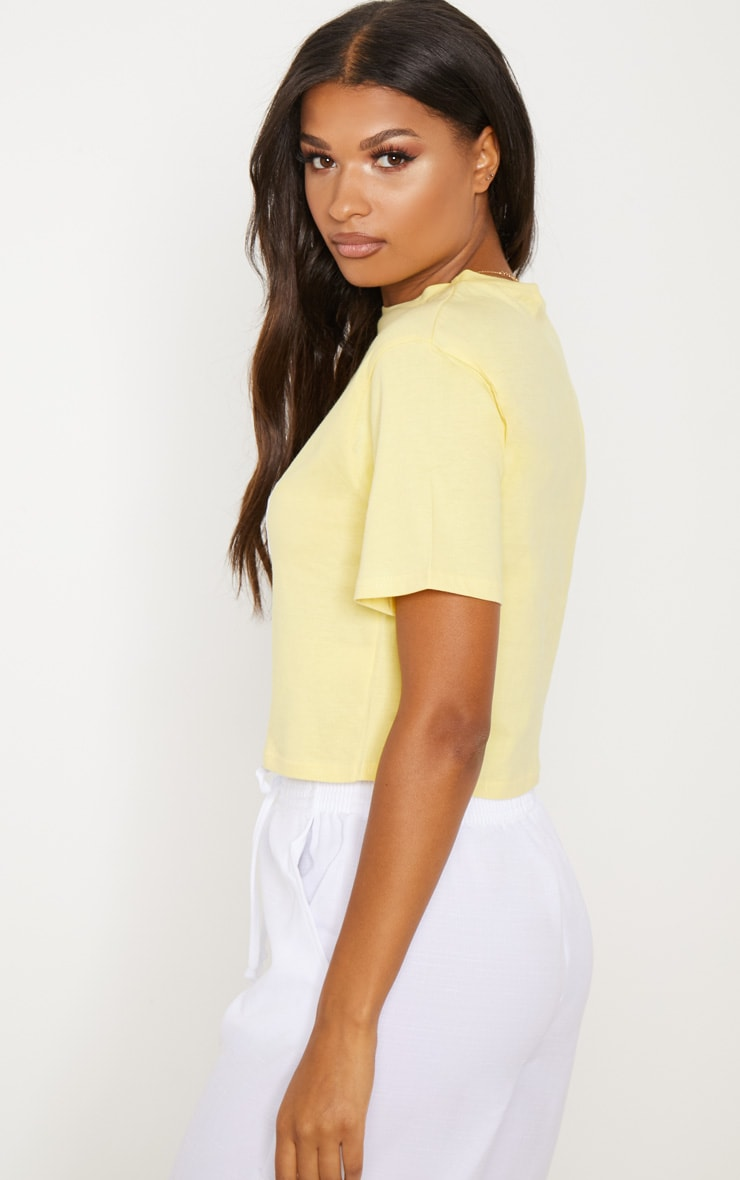 Yellow  Applique Made in 2012 Cropped Tshirt 2