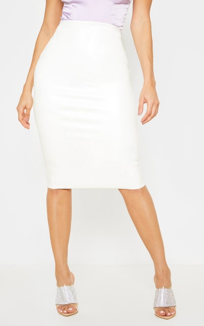 Ecru Basic Faux Leather Midi Skirt