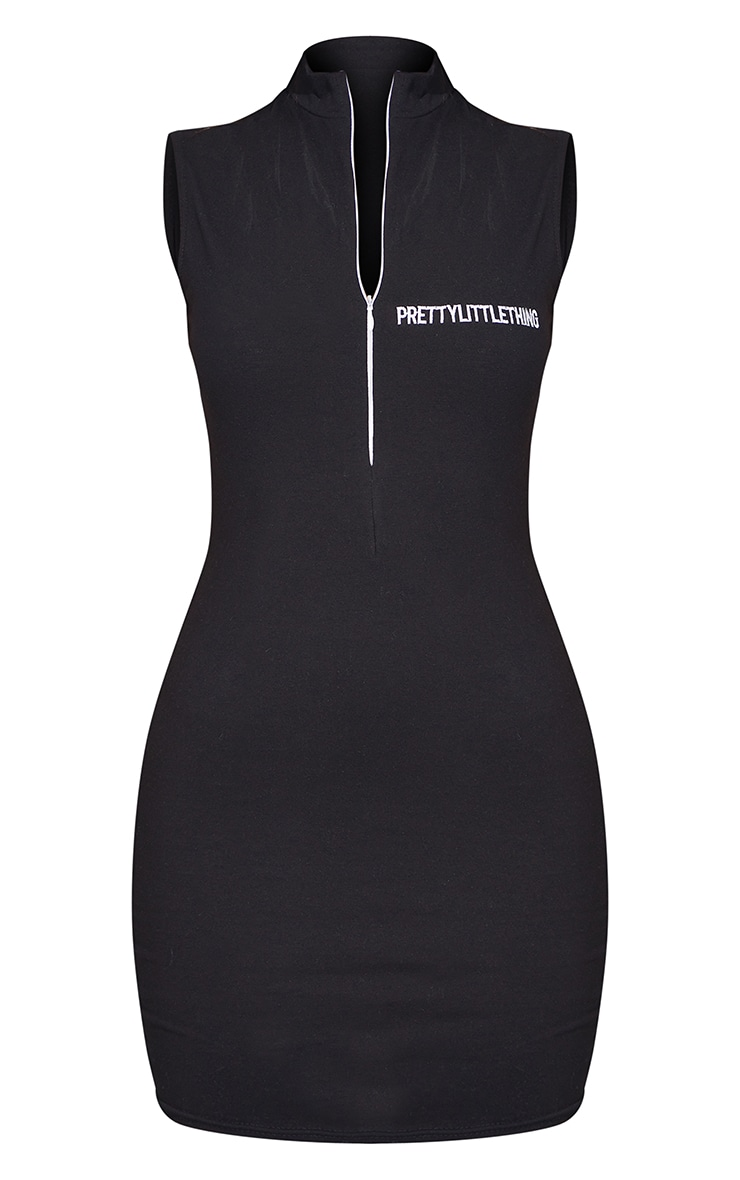 PRETTYLITTLETHING Black Embroidered Sleeveless Collar Detail Bodycon Dress 5