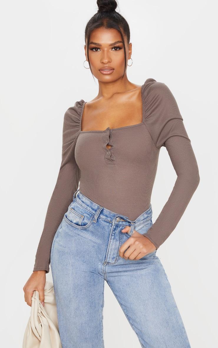Mocha Rib Puff Long Sleeve Bodysuit 1