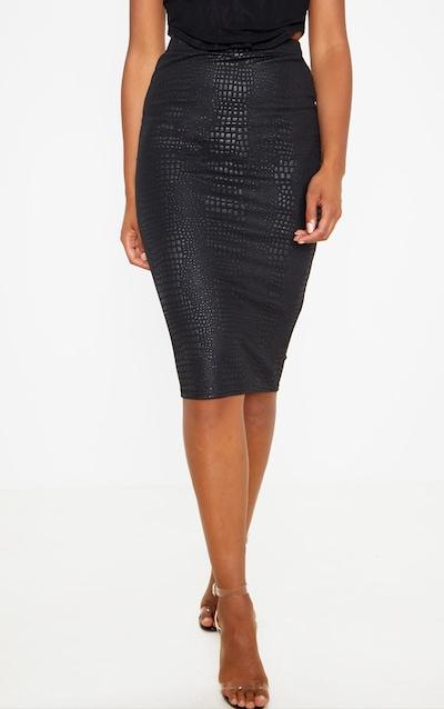 Black Croc Print Midi Skirt