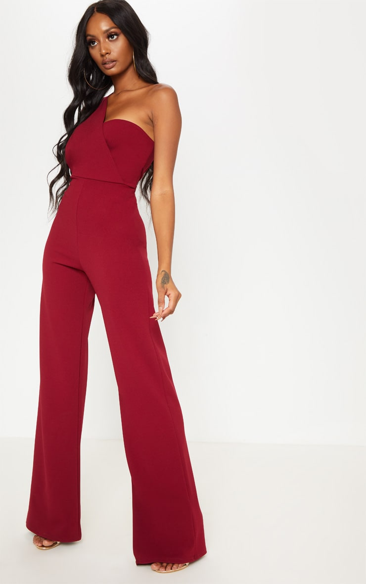 Burgundy Drape One Shoulder Jumpsuit 4