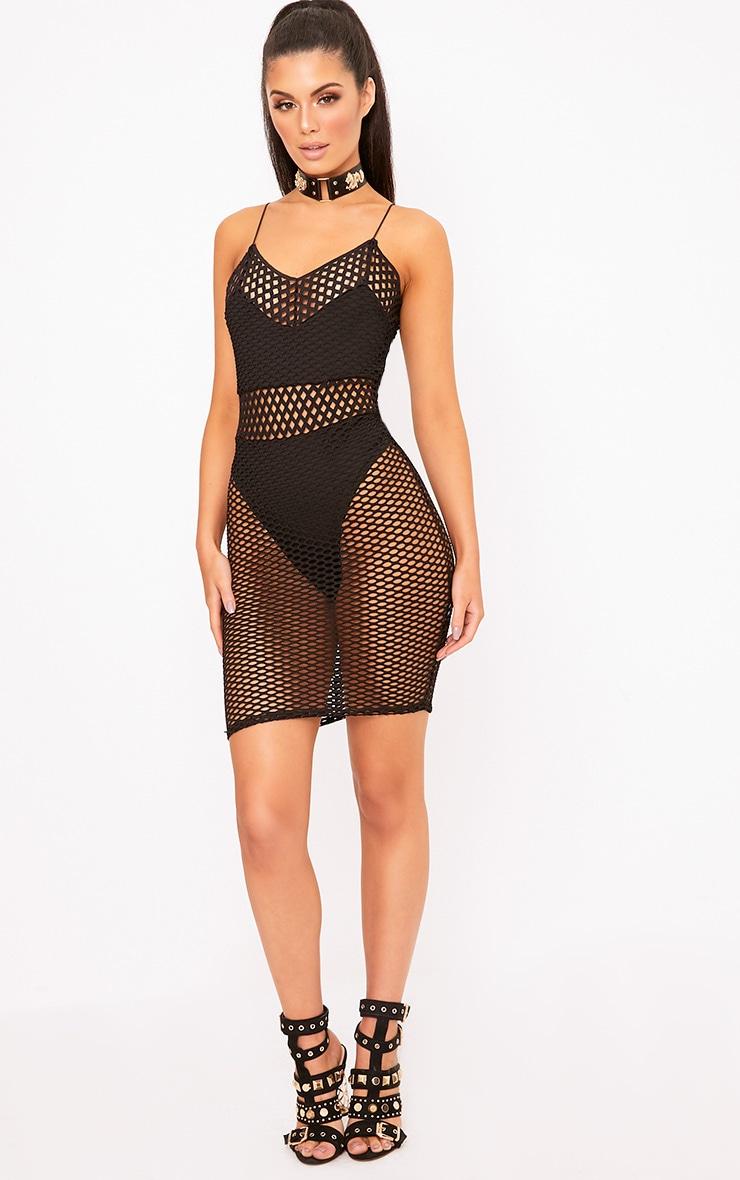 Black Fishnet Bodycon Dress 4
