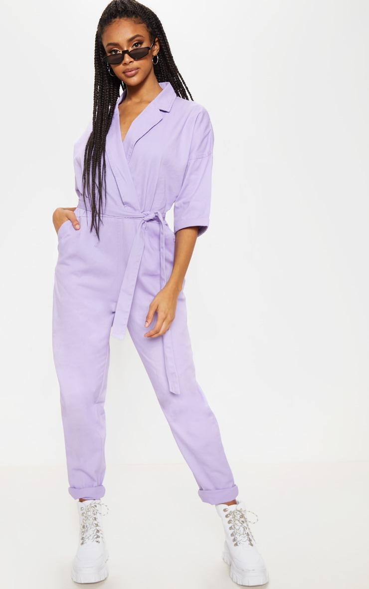 Lilac Denim Utility Jumpsuit 1