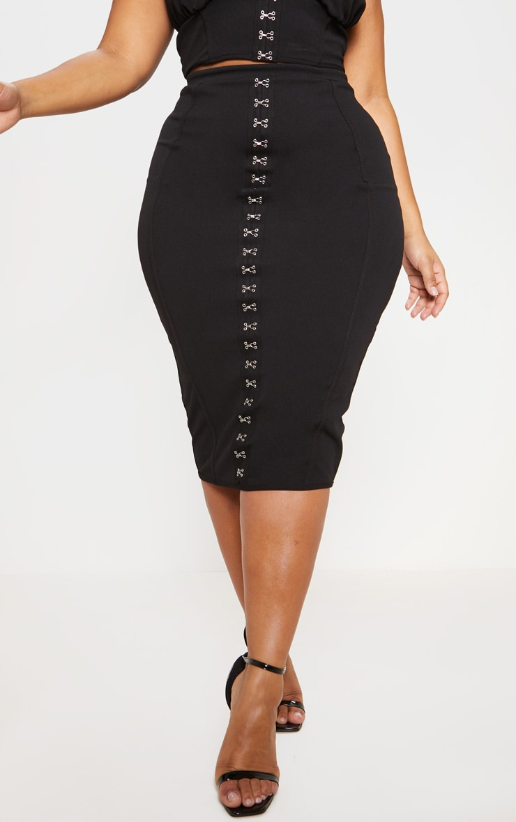 Black Piped Detail Hook & Eye Midi Skirt 3
