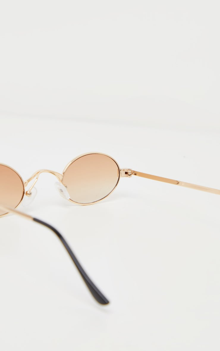 Brown Small Squashed Round Lens Sunglasses  4