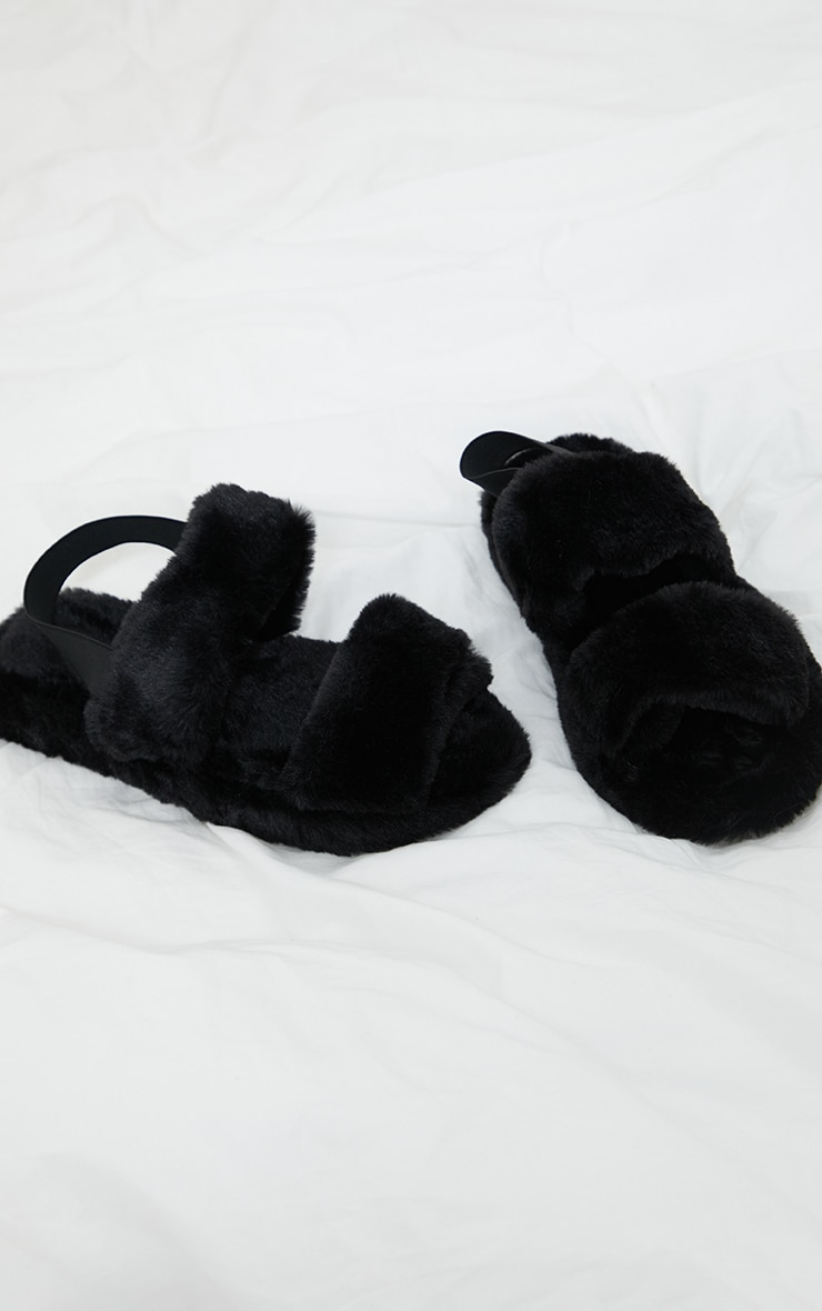 Black Fluffy Two Strap Chunky Slippers 3
