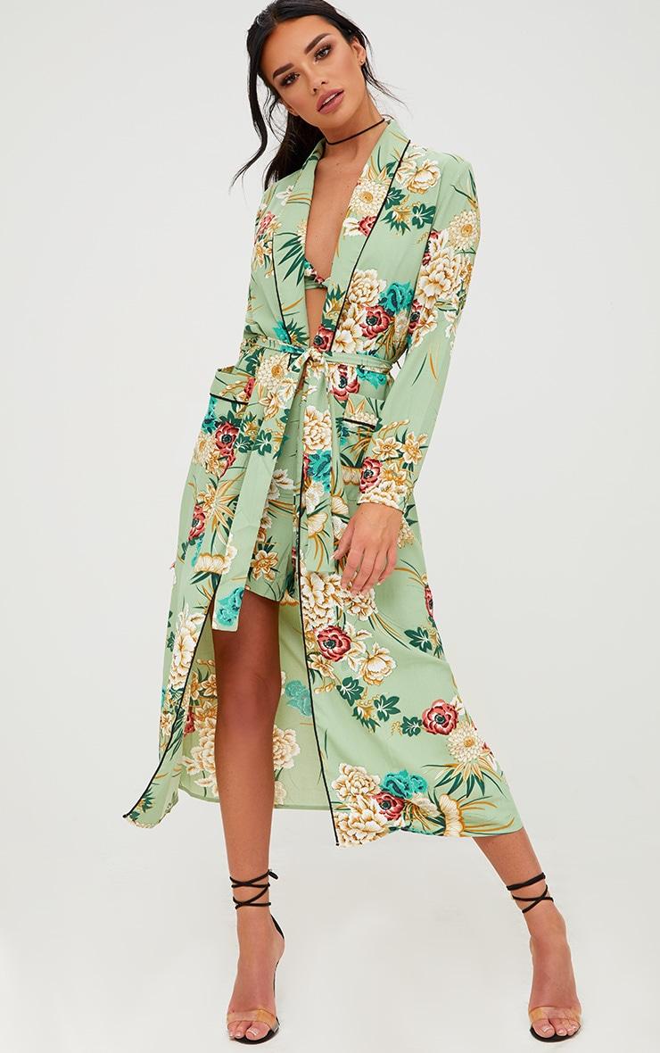 Sage Green Floral Maxi Kimono 1