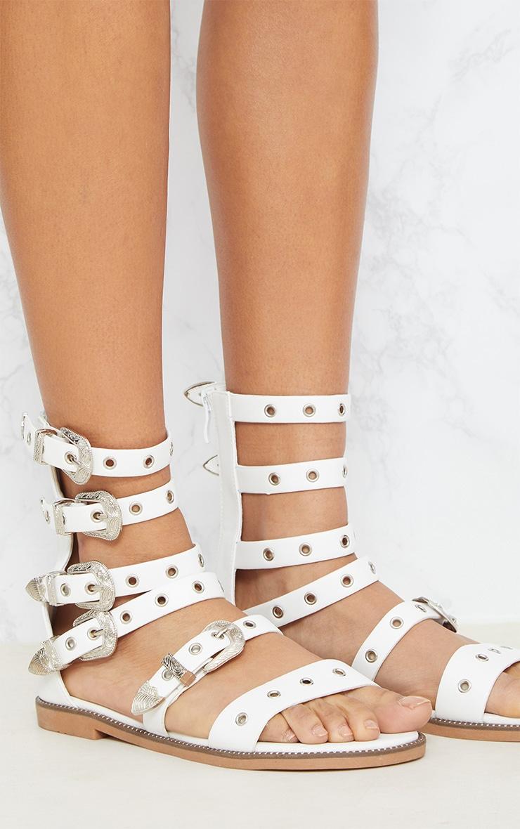 White Western Buckle Ankle Gladiator Sandal 5