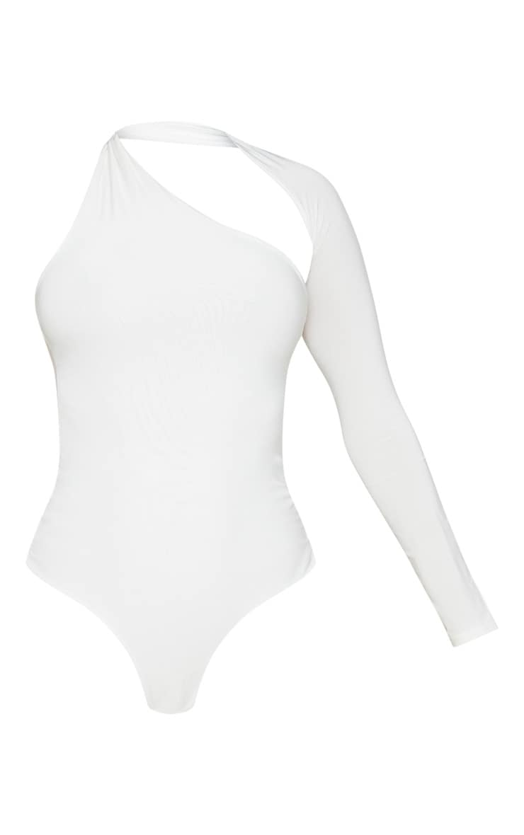 White One Shoulder Asymmetric Bodysuit 3
