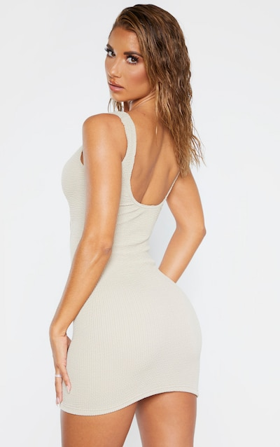 Taupe Crinkle Cut Out Beach Dress