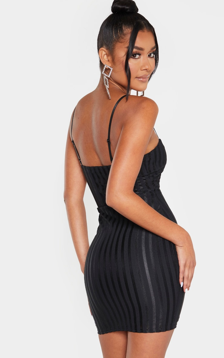 Black Strappy Cup Detail Striped Bodycon Dress 2