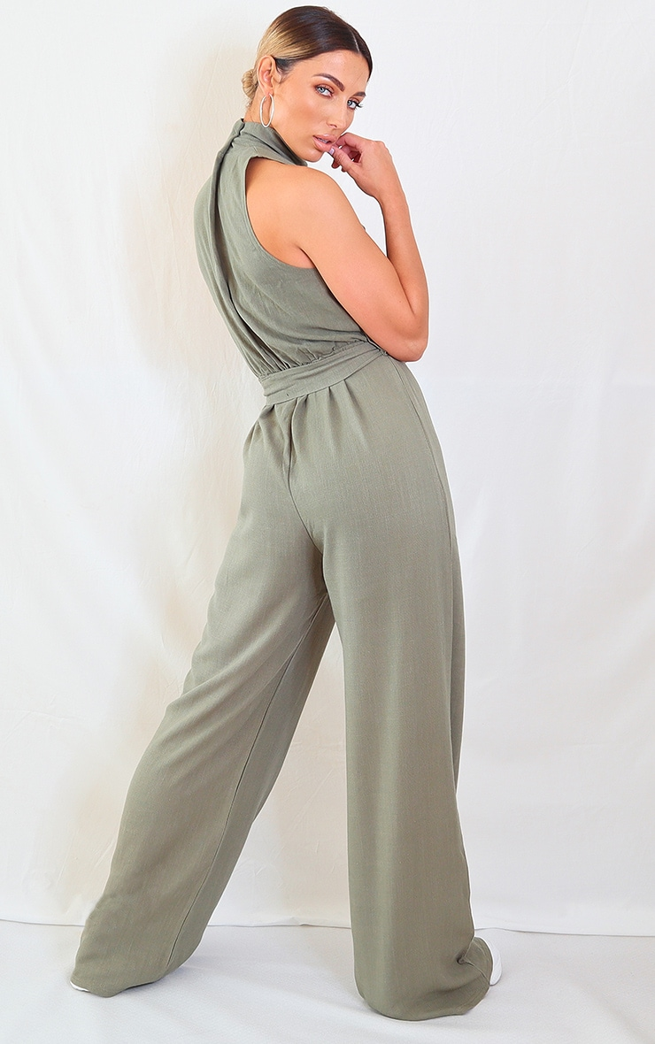 Khaki Woven High Neck Tie Waist Jumpsuit 2