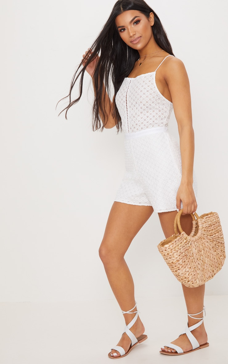 White Broderie anglaise Straight Neck Playsuit 1