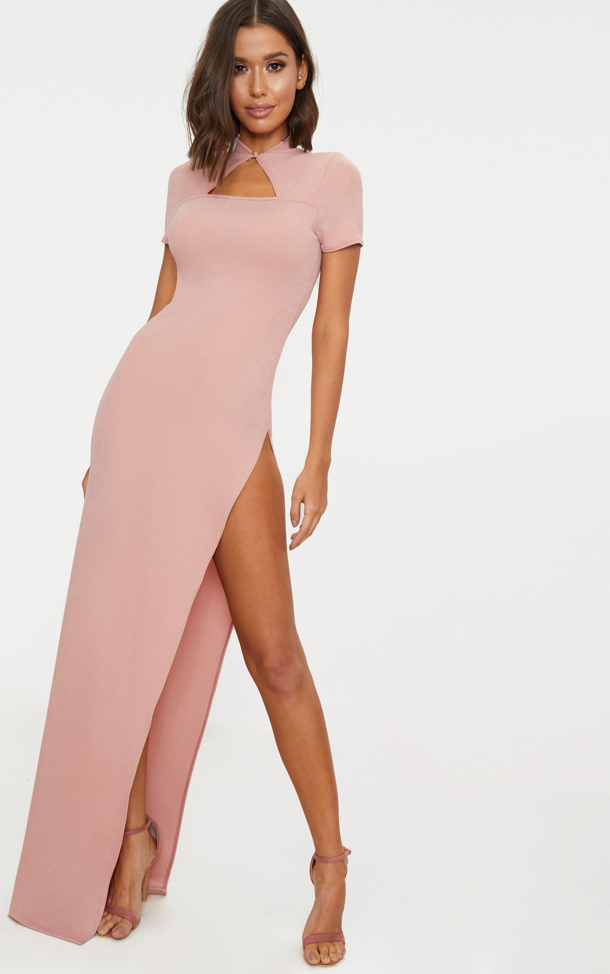 Dusty Pink Oriental Cut Out Detail Maxi Dress 1