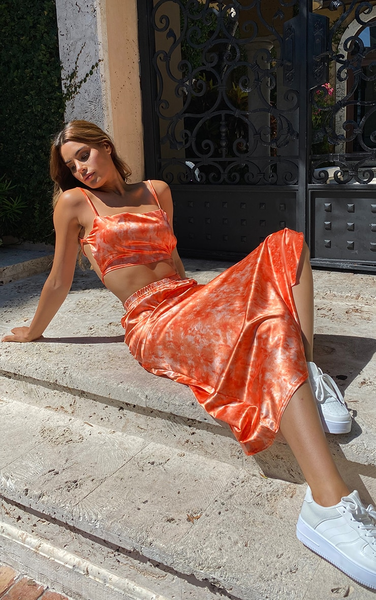 Tall Orange Tie Dye Satin Midi Skirt 4