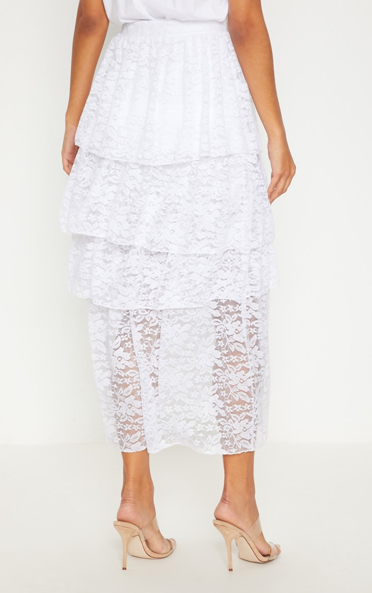 White Lace Tiered Maxi Skirt 4
