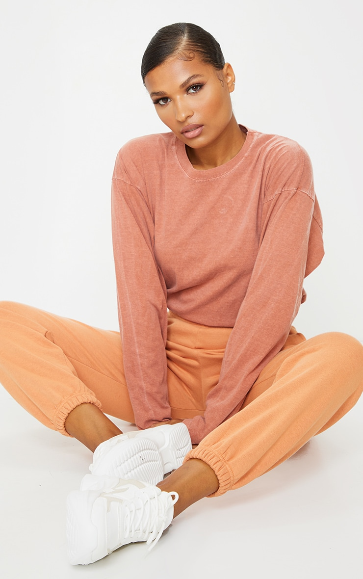 Rust Washed Long Sleeve T Shirt 3