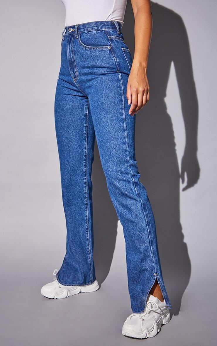 Recycled Mid Blue Wash Basic Split Hem Jeans 2