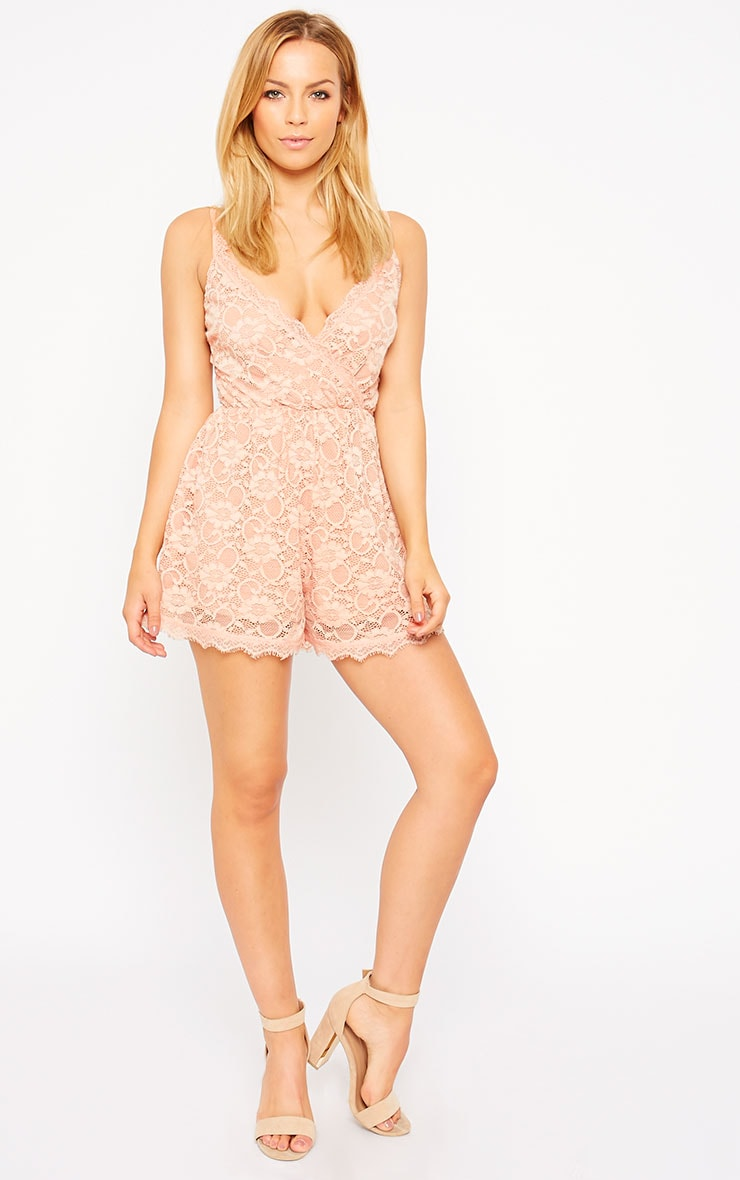 Riva Dusty Pink Lace Wrap Playsuit 3