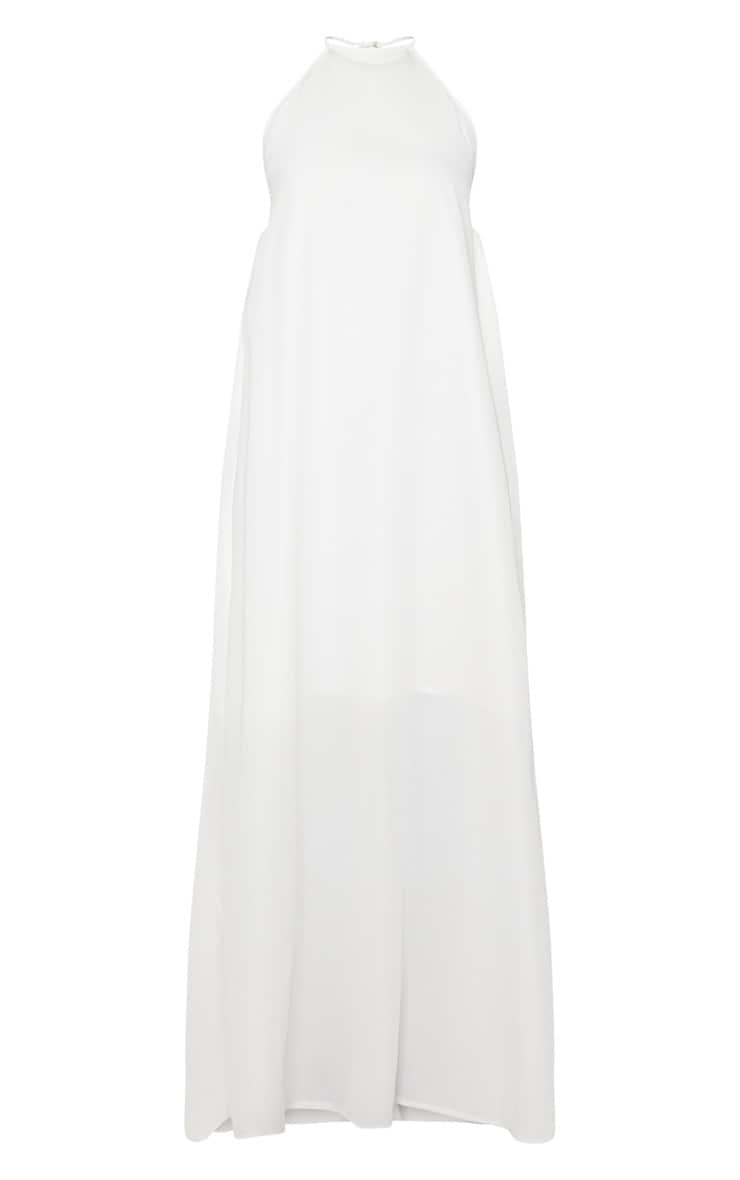 Petite White Halterneck Scoop Back Maxi Dress 3