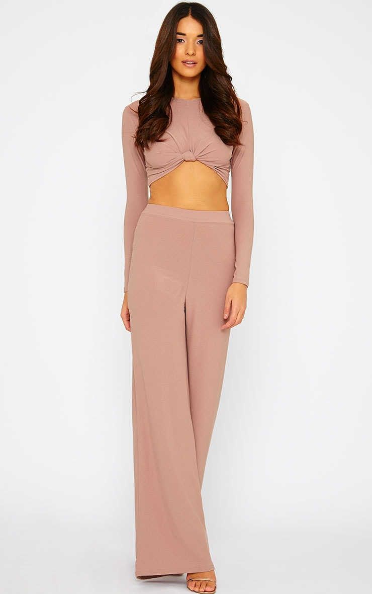 Zafia Dusty Pink Knot Front Crepe Crop Top 4