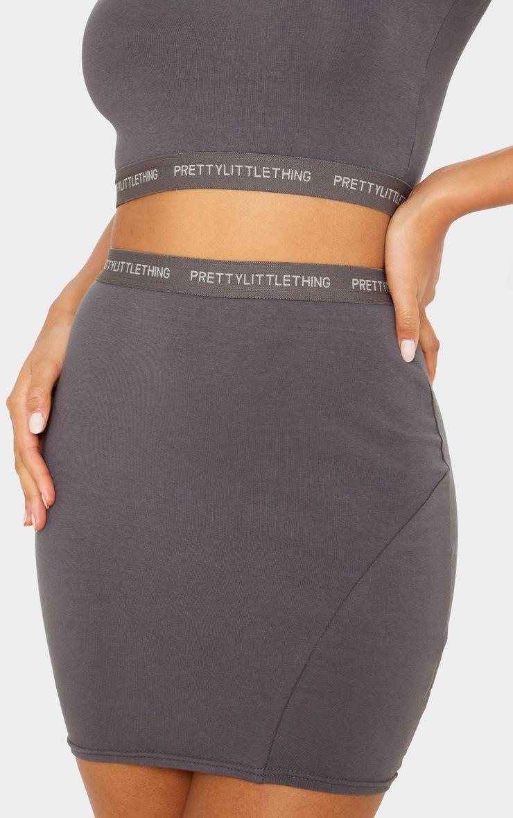 PRETTYLITTLETHING Lead Grey Tape Jersey Mini Skirt 6